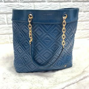 Tory Burch teal quilted leather bag